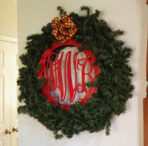 Christmas wood monogram on wreath1