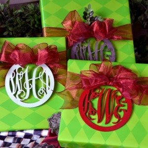 Wood monograms on Christmas packages