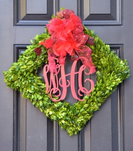 Valentine Wood Monogram on Square Wreath