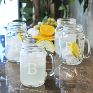 16 oz etched Mason Jars