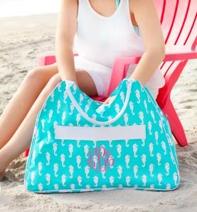 Aqua Seahorse Beach Bag