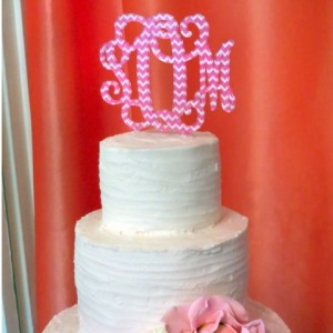 Acrylic Cake Topper in Pink Chevron