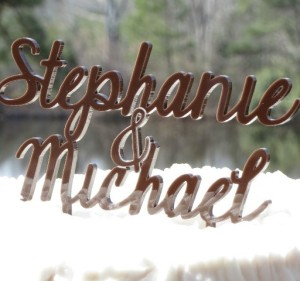 Brown Acrylic Name Cake Topper