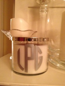 Our customer Lynn Payne put a monogram on a candle.