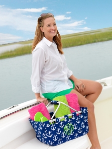 Navy Anchor Market Tote