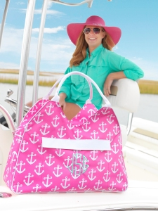 Pink Anchor Beach Bag and Pink Floppy Hat