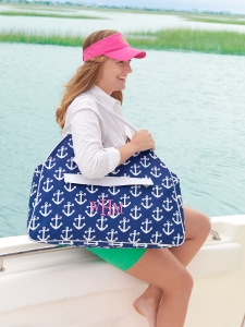 Navy Anchor Beach Bag and Hot Pink Visor