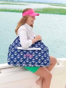 Navy Anchor Beach Bag and Hot Pink Visor