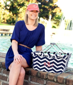 Coral Visor and Navy Chevron Market Tote